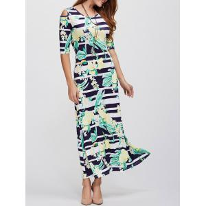 Cold Shoulder Long Striped Print Maxi Dress - Black - Xl