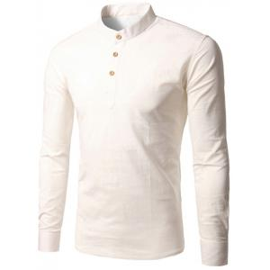 Stand Collar Half Button Up Pullover Shirt - White - Xl