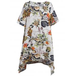 Asymmetrical Floral Print Casual Short Flowy Dress