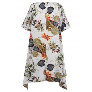 Asymmetrical Floral Casual Short Flowy Dress - WHITE S