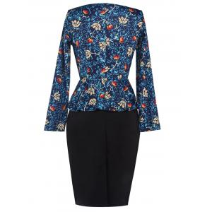Printed Long Sleeve Pencil Peplum Office Dress - CADETBLUE 2XL