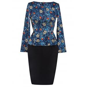 Printed Long Sleeve Pencil Peplum Office Dress