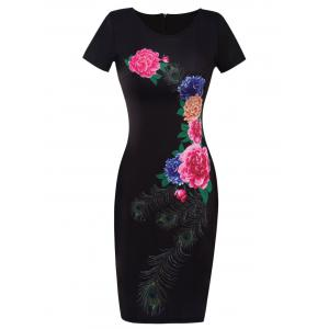 Printed Floral Fitted Bodycon Dress