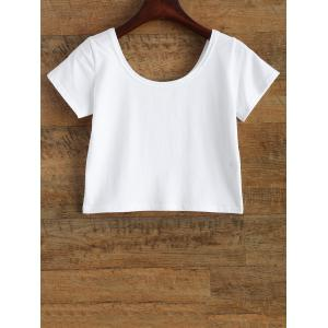 Funny Tits Print Jersey Crop Tee Shirt - WHITE L