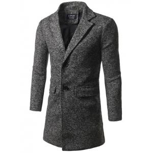 Back Vent Flap Pocket Texture Two Button Coat - Deep Gray - L