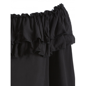 Off The Shoulder Ruffles Loose Blouse - BLACK 2XL