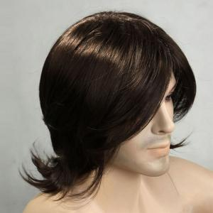 Medium Side Bang Tail Upward Men's Synthetic Wig -
