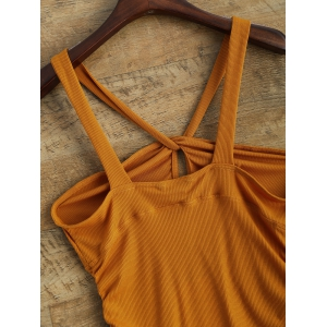 V Strap Twisted Tank Top - DEEP YELLOW 2XL