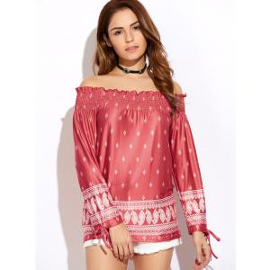 Off The Shoulder Printed Peasant Top - Red - S