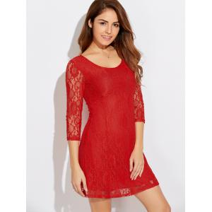 Scoop Neck Three Quarter Sleeve Lace Dress - Jacinth - S