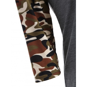 Army Camo Print Happy Graphic T Shirt -