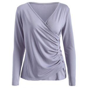 V Neck Buttons Runched Surplice T-Shirt
