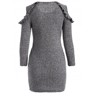 Cold Shoulder Ruffles Bodycon Sweater Dress - GRAY 2XL