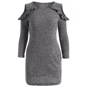 Cold Shoulder Ruffles Bodycon Sweater Dress - Gray - S