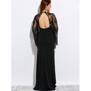 Plunging Neck Cutout Lace Spliced Maxi Prom Dress -