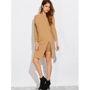Long Sleeve High Furcal T-Shirt Dress - KHAKI XL