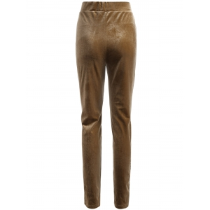 Metallic Color Leggings - LIGHT COFFEE 2XL