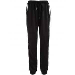 Drawstring Striped Gym Jogger Pants - Black - M