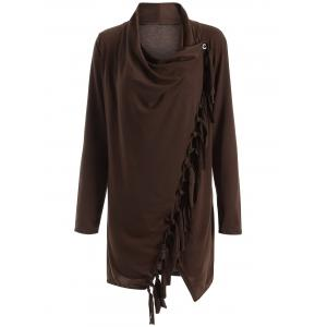 Long Sleeve Tassels Side Button Cape - Coffee - M
