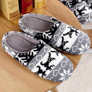 Heart Snowflake Knitted Winter Slippers - Gray - Size(42-43)