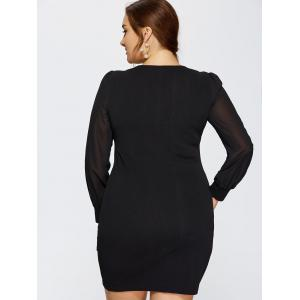 Plus Size Long Sleeve Ruched Dress - BLACK 4XL