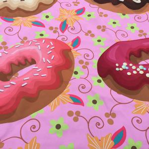 Christmas Flower and Donuts Print Round Beach Throw - PINK ONE SIZE