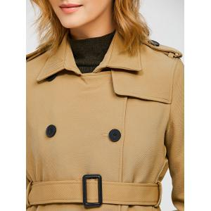 Epaulet Belted Double-Breasted Trench Coat - KHAKI XL