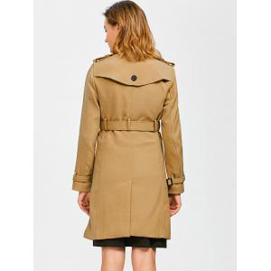Epaulet Belted Double-Breasted Long Trench Coat - KHAKI L
