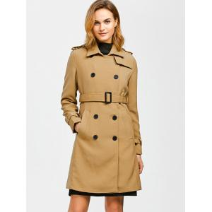 Epaulet Belted Double-Breasted Trench Coat - KHAKI L
