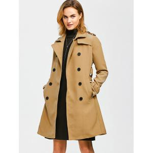 Epaulet Belted Double-Breasted Long Trench Coat - KHAKI S