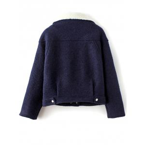 Funnel Collar Wool Blend Jacket - PURPLISH BLUE L