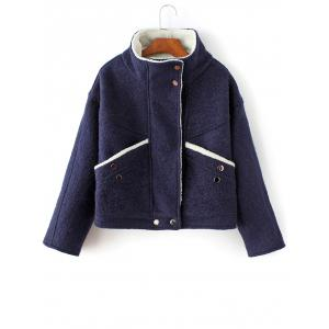 Funnel Collar Wool Blend Jacket