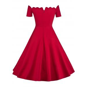 Off The Shoulder Vintage Party Skater Dress - RED 2XL