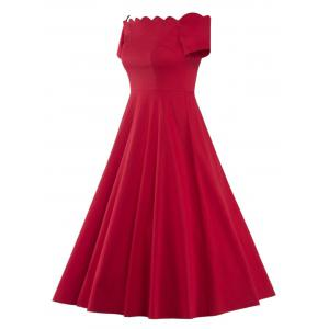 Off The Shoulder Vintage Party Skater Dress - RED M