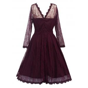 Lace Skater Homecoming Formal Dress with Sleeves - WINE RED 2XL