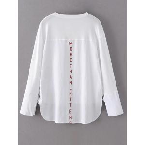 Step Hem Long Sleeve Graphic Back Tee - WHITE L