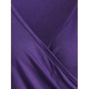 V Neck Buttons Runched Surplice T-Shirt -