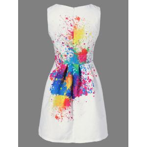 Splatter Print Sleeveless Tulip Dress - WHITE XL