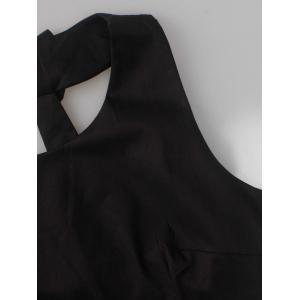 Vintage Pleated Fit and Flare Dress - BLACK S