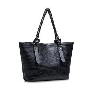 PU Leather Embossing Chain Shoulder Bag - BLACK