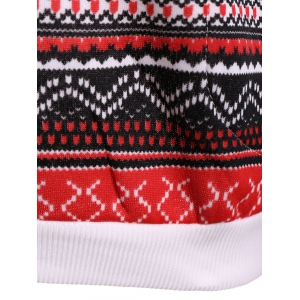 Polka Dot Christmas Snowflake Pullover Hoodie - RED AND WHITE XL