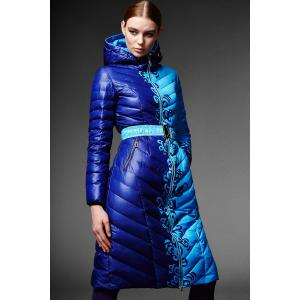 Hooded Print Down Coat - Blue - M