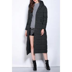 Hooded Zipper Fly Buttoned Long Down Coat - Black - Xl