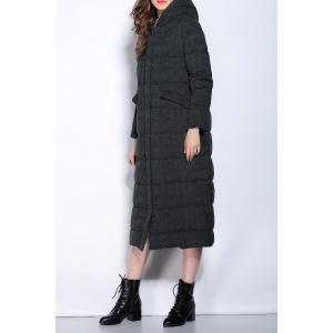 Hooded Zipper Fly Buttoned Long Down Coat -