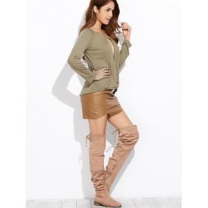 Deep V Neck Long Sleeve Crossover Top - ARMY GREEN XL