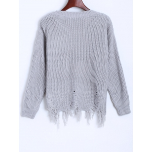 Distressed Fringed Chunky Sweater -