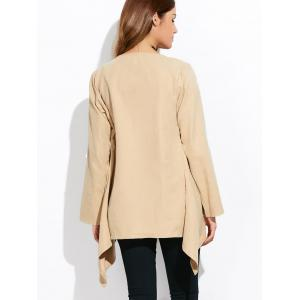 Drape Front Rolled Sleeve Coat - LIGHT KHAKI 3XL