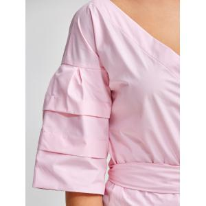 V Neck Layered Sleeve Wrap Blouse - PINK 2XL