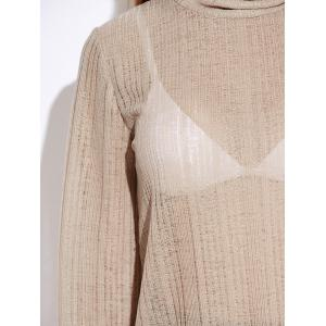 Turtle Neck Back Cutout Lace Up Knitwear - OFF WHITE XL