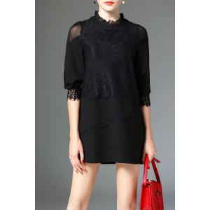 Frilled Collar Lace Mesh Insert Mini Dress